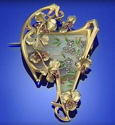 GOLD, ENAMEL, RUBY AND DIAMOND ART NOUVEAU BROOCH/PENANT, CIRCA 1900