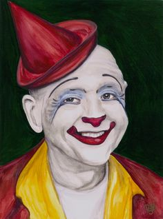 Watercolor Clown #4 - Frosty Glen Little Watercolor. It is hard to tell in the photo but the background is a dark green.    The Original is available 9 X 12 Watercolor on Canson 140 lb Cold pressed Watercolor paper. Cost $200.00    Or you can buy    Giclee Print - Watercolor Clown #4 Frosty Glen Little    Paper: Fine Art Paper    Giclee Print Size: 9 X 12 , 11 X 14, or 16 X 20inches    Frame: Unframed    All images are Signed on back and on comes with signed Certificate of Authenticity…