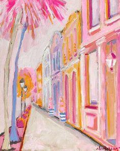 Rosie Rainbow Row - C. Brooke Ring - pink and orange rainbow row painting - colorful charleston painting