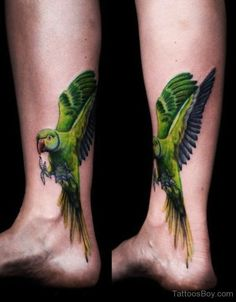 Bright color tattoo by Nick Hart at Deep Roots Tattoo and Body Piercing in Seattle, Wa Eagle Tattoos, Feather Tattoos, Leg Tattoos, Bird Tattoos, Brown Tattoos, Tatoos, Hart Tattoo, Elephant Tattoos, Animal Tattoos