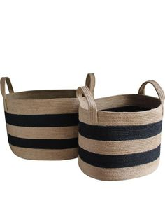 "- Striped Woven Jute Baskets - handmade of 100% jute - black and natural stripes - available in two sizes: - small, 14"" x 17"" x 13"" high - large, 15"" x 21"" x 13"" high"