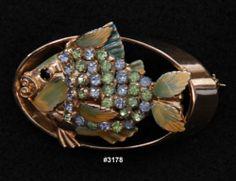 Hobe Gold Tone Multi Stone Fish design Pin