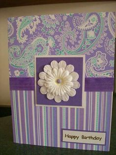 Card: Happy Birthday card, stripe purple & tourqouise pr with co-ord. Homemade Birthday Cards, Homemade Greeting Cards, Making Greeting Cards, Greeting Cards Handmade, Homemade Cards, Birthday Cards For Women, Happy Birthday Cards, Female Birthday Cards, Flower Birthday Cards