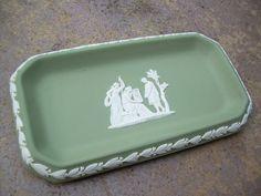 Vintage Green Sage Wedge wood tray Stamped Wedge wood by Andraliz, $30.00