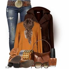 Amazing Winter Outfit except replace the animal print scarf with a different one :-)