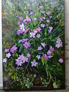 """ Pink  Floral"" 400 x 600 mm oils and brush on board"