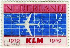 Netherlands postage stamp: KLM Airlines c. 1959 in honor of KLM Airline's Anniversary Designed by Erik Thorn Leeson Airline Alliance, Douglas Dc 8, Aviation World, Going Postal, Luggage Labels, My Heritage, Mail Art, Postage Stamps, Netherlands