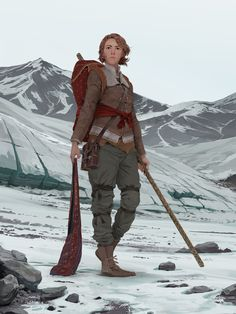 The Alpine by TheMichaelMacRae adventurer wizard staff belt puch leather boots pack scroll case bag of holding haversack mountains player character npc.