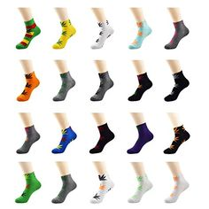 Zando Unisex Marijuana Weed Leaf Sports Ankle Crew Short Socks Randomly Choose 8 Pack ** Details can be found by clicking on the image.