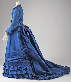 Dress Date: ca. 1870 Culture: French Medium: silk. Side view.