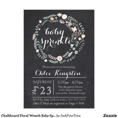 Chalkboard Floral Wreath Baby Sprinkle Invitation. Elegant Chalkboard Bridal Shower Invitation Templates. Classy bridal shower invitations that you can order online. Customized for the new bride to be. Elegant bridal shower invitation that feature a nice chalkboard background, great design and typography. Click image to customize. Feel free to like or repin.