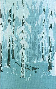 ✨ Oscar Droege (1898-1983) - Winterwald, Farb-Holzschnitt, 35 x 21 cm ::: Winter Forest, Colour Woodcut