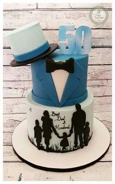 birthday cake for humans cake - Geburtstagstorte - Cake Design 60th Birthday Cake For Men, 50th Cake, Birthday Cupcakes, Funny Birthday Cakes, 90th Birthday, Fondant Cakes, Cupcake Cakes, Cake For Husband, Silhouette Cake