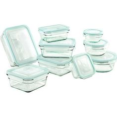 Glasslock 18 Piece Storage Container Set Clear Glass Oven Safe Microwaveable New Glass Storage Containers, Freezer Containers, Glass Food Storage, Food Containers, Kitchen Storage, Kitchen Decor, Kitchen Items, Moving Containers, Kitchen Things