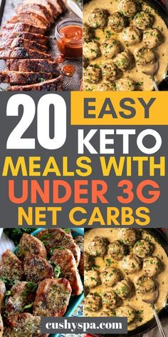 20 Easy Keto Meals With Under Net Carbs These ketogenic meals are very low in cabs thus will definitely keep you in ketosis for a while. Enjoy these keto recipes and make it easy to stay on keto diet. Ketogenic Recipes, Diet Recipes, Healthy Recipes, Protein Recipes, Snacks Recipes, Diet Meals, Diet Foods, Low Carb Dinner Recipes, Ketogenic Diet