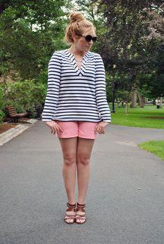 stripes // kate spade // diamond shorts // pink // navy // nautical // boston // thoughtuflwish