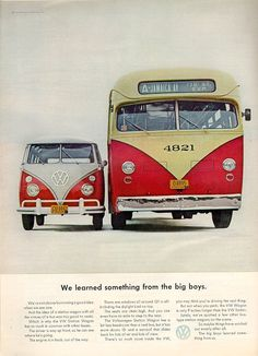 A 1963 Volkswagen advertisement featuring two buses. One for the city of New York Jamaica Way and the other classic VW Bus Station Wagon. Volkswagen Bus, T3 Vw, Volkswagen Beetles, Ferdinand Porsche, Vw Lt 4x4, Vw Caddy Mk1, Carros Vw, Combi T1, Vw Caravan