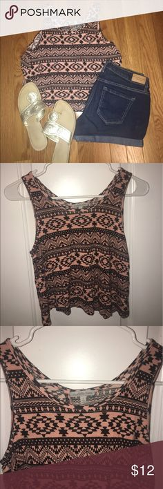 Aztec Patterned CropTop This unique crop top has only been worn once or twice! Comes from a non-smoking home! It has an open back detailing. Will bundle the top and shorts for less! Shorts are also being sold separate. Charlotte Russe Tops Crop Tops