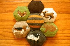 Cute individual hexapuffs used to make a bee keeper's quilt