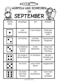 Würfeln und Schreiben im September, AFS-Methode, Arbeitsblatt, DAF, DAZ…