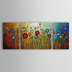 Hand-painted Abstract Oil Painting with Stretched Frame - Set of 3 2016 - $76.99