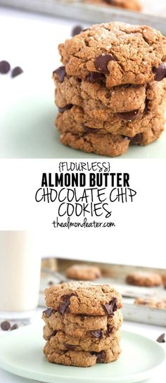 Flourless Almond Butter Chocolate Chip Cookies- only FIVE ingredients and no refined sugar! #paleo