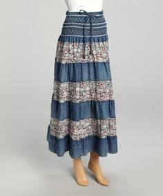 Love this Blue Floral Shirred Maxi Skirt by Miss Maxi on #zulily! #zulilyfinds