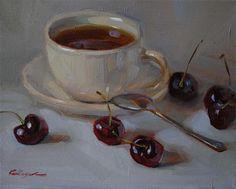 """""""Cherry Tea"""" - Original Fine Art for Sale - © Elena Katsyura"""
