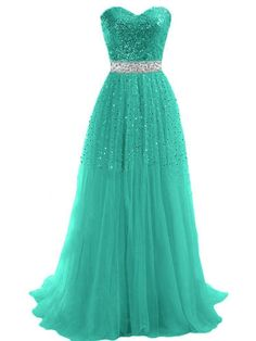 Sweetheart Tulle Long Prom Dress With Beading Sequins