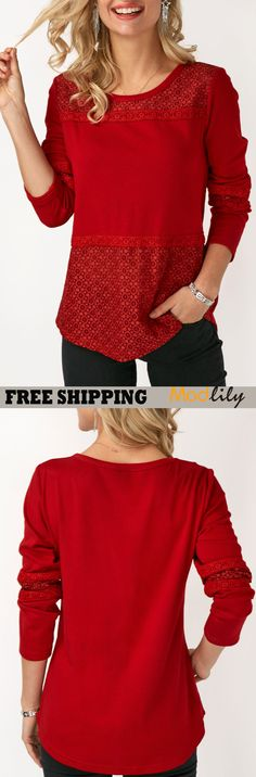 Patchwork Long Sleeve Round Neck T Shirt On Sale At Modlily. It is time to extend your style of clothes. Modlily could satisfied you all about fashion. Beautiful Outfits, Cool Outfits, Casual Outfits, Fashion Outfits, Womens Fashion, Trendy Tops For Women, Fashion And Beauty Tips, Trendy Dresses, All About Fashion