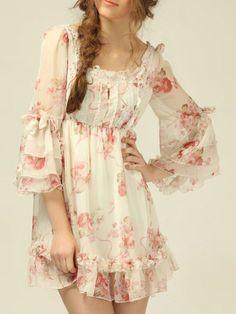Ruffle Sleeve Florals Bow Chiffon Dress