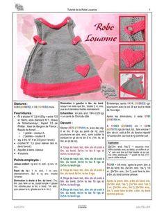 Fichier PDF: Tuto Robe Louanne par Julie Sanders - Page Crochet Baby Sweaters, Crochet Coat, Crochet Cardigan Pattern, Knit Baby Dress, Baby Cardigan, Cardigan Sweaters, Baby Knitting Patterns, Baby Patterns, Clothes Patterns