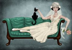'vintage bride' Photographic Print by vian Norman Rockwell, Lace Drawing, Man And Dog, Hair Art, Crazy Cat Lady, Female Art, Illustrations Posters, Dame, Illustration Art
