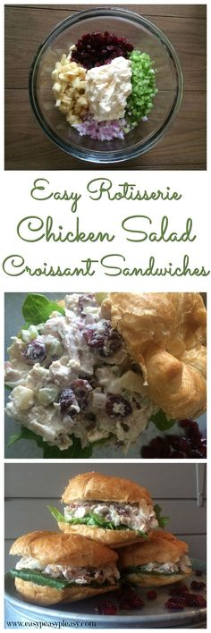 Easy Rotisserie Chicken Salad Croissant Sandwiches are perfect for parties, potlucks, baby showers, wedding showers and everyday lunch.