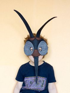 MOSQUITO Felt Mask - Insect costume - children adult mask - pretend play - Black…
