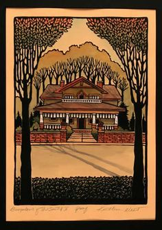 arts and crafts block print of house - Google Search