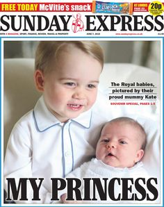 London Sunday Express front page, 7 June 2015 - Prince George and his little sister, Princess Charlotte