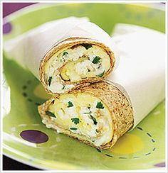 Omelet Roll-ups...  3 egg whites  • 1 whole egg  • 1 Tbsp / 15 ml skim milk or low-fat milk of your choice  • Sea salt and pepper  • 1 Tbsp / 15 ml yogurt cheese  • 1 tsp / 5 ml chopped fresh cilantro or other fresh herb  • 1 x 7-inch / 18 cm brown rice wrap  • 1 tsp / 5 ml extra virgin olive oil