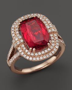 Bloomingdale's Rubellite Tourmaline and Diamond Large Statement Ring in 14K Rose Gold