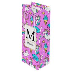 #template - #Funny Cute Pink comical unicorns and kitties Wine Gift Bag