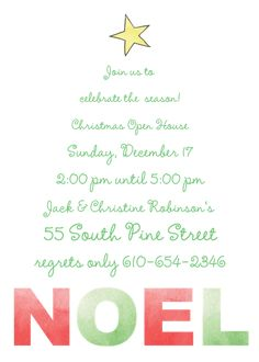 Noel Invitation Christmas Dinner Invitation, Dinner Party Invitations, Open House Invitation, Invitation Design, Christmas Open House, Christmas Holidays, Throw A Party, Return Address Labels, Holiday Parties