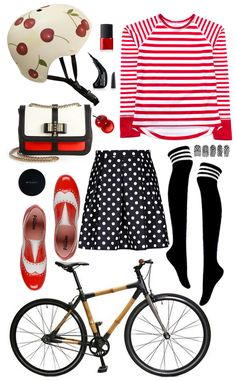 Belle Handpainted Cherry Helmet // Nars Cherry Red Nail Polish // Milani Precision Eyeliner //Camille Long Sleeve Jersey // Mummy Nail Wraps // Over The Knee Socks // The Bambeauty Bicycle // Pollini Two-Tone Patent Oxfords // Polka Dot Skirt // Witchery Compact // Mini Cherry Lip Balm // Christian Louboutin Tricolor Bag