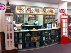 "Brit Lit book display featuring ""Ye Olde English Book Shoppe"" British values English Classroom Decor, Classroom Setting, Classroom Design, School Displays, Classroom Displays, Classroom Themes, Library Themes, Library Book Displays, Library Design"