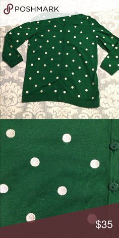 Talbots green and white cardigan Talbots green and white cardigan petite medium tag is missing but all my Talbots are petite medium worn maybe once or twice no signs of wear Talbots Sweaters Cardigans