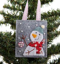 Felt Christmas ornament embroidered snowman by JennMaruskaDesign, $8.00
