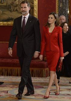 King Felipe VI of Spain and Queen Letizia of Spain attend 'Commemoration Of Cervantes Death' closing ceremony at the Royal Palace on January 30, 2017 in Madrid, Spain. The ceremony officially closed the celebrations marking the 400th anniversary of the death of Miguel de Cervantes and was attended by more than 200 authorities and cultural personalities.