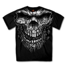 A Skull T-Shirt is Always a Biker Favorite! Skulls and motorcycles always seem to go together in the biker world! Jumbo Shredder Skull Graphic on Front. 100% Comfortable Heavyweight Cotton. The evil in his black eyes will follow you everywhere! Starting at only $18.95! http://www.doubledcycles.com/mens-skull-motorcycle-biker-t-shirt/