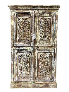 Antique Distressed Cabinet Chest Cupboard Storage Floral Carved Armoire Indian Furniture Mogul Interior http://www.amazon.com/dp/B00PU8PZKW/ref=cm_sw_r_pi_dp_AeEDub0W14BPV