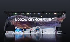 Moscow on Behance Exhibition Stall, Exhibition Stand Design, Nightclub Design, City Government, Futuristic Design, Trade Show, Moscow, Signage, Cool Designs