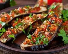 Baked Eggplant Appetizer with Tomatoes recipe: Try this Baked Eggplant Appetizer with Tomatoes recipe, or contribute your own. Veggie Recipes, Vegetarian Recipes, Dinner Recipes, Healthy Recipes, Vegetarian Dish, Baked Eggplant, Eggplant Recipes, Eggplant Caviar, Stuffed Eggplant